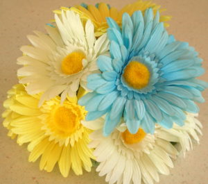 Blue Yellow and White Gerbera Daisy Silk Floral Cake Topper
