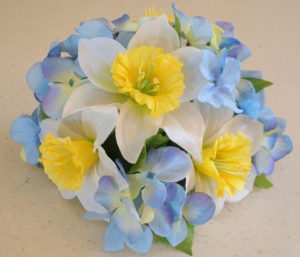 Yellow Daffodil and blue hydrangea floral cake topper