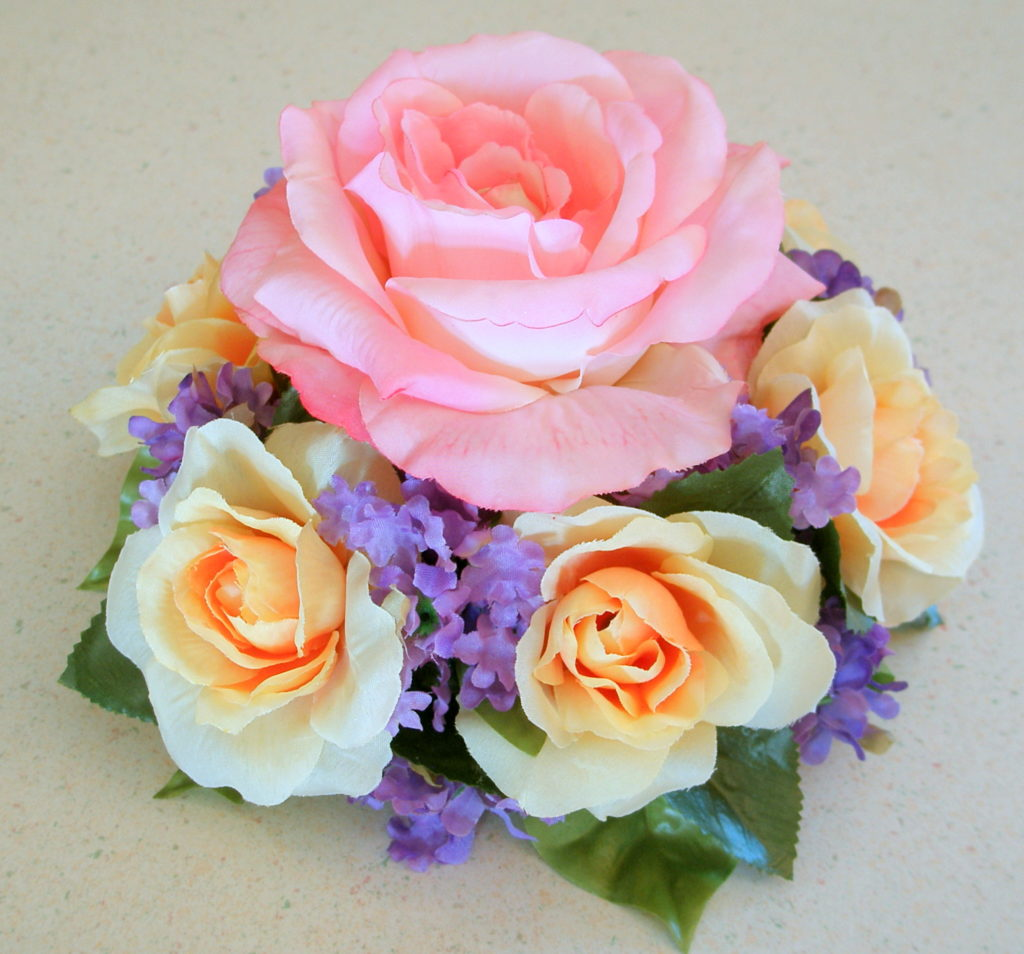 pink and yellow rose floral cake topper