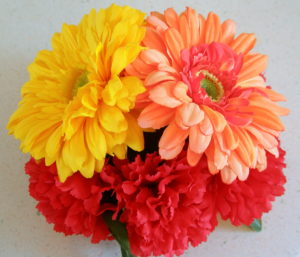 Yellow Orange Gerbera Daisy and Red Carnation floral cake topper